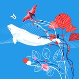 Vector marine illustration with whale Royalty Free Stock Image