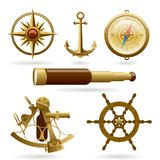 Vector marine navigation icon set isolated on white background. Windrose, anchor, compass and other objects. Royalty Free Stock Images