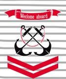 Vector Marine Postcard. Vector Marine Invitation Card with anchors. Sea party royalty free stock photo