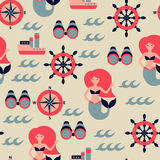 Vector marine seamless pattern. Illustration Stock Photography