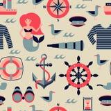 Vector marine seamless pattern Stock Photos