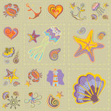 Vector Marine Seamless Pattern. Sea Patchwork. Royalty Free Stock Images