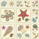 Vector Marine Seamless Pattern. Sea Patchwork. Royalty Free Stock Image