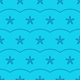 Vector marine seamless pattern with sea starfish Royalty Free Stock Photos