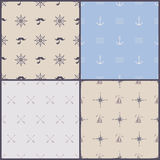 Vector marine symbol seamless pattern Stock Photo