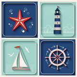 Vector marine theme icons Stock Photography