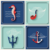 Vector marine theme icons Royalty Free Stock Image