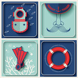 Vector marine theme icons Royalty Free Stock Photos