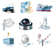 Vector marine transportation icon set stock illustration