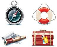 Vector marine travel icons. Part 2. Set of icons representing sailing equipment and related objects