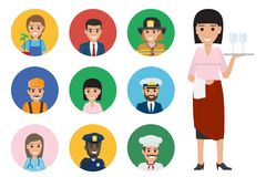 Nine Round Icons of Trades and Full-length Waiter. Vector of mariner and whiskered cook, woman doctor, builder and manager, policeman and lifesaver, gardener vector illustration