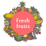 Vector mark sticker sign icon of fresh fruits Stock Photo