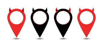 Vector marker icon devil. Set of map pointers. Vector marker icon devil Stock Image