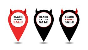 Vector marker icon flat design Black Friday Sale royalty free illustration