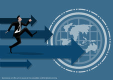 Vector Marketing business working around the world to communicate successfully with the world map icon flat design. Vector Marketing business working around the Royalty Free Stock Images