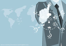 Vector Marketing business working around the world to communicate successfully with the world map icon flat design. Vector Marketing business working around the Stock Photography