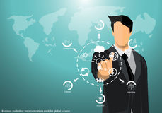 Vector Marketing businessman working around the world to communicate successfully with the world map icon flat design. Vector Marketing businessman working Royalty Free Stock Images