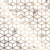 Vector marmeren textuur, naadloos patroonontwerp met gouden geometrische lijnen en kubussen, zwart-witte marmeringsoppervlakte vector illustratie
