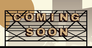 Vector marquee letter coming soon sign. Coming Soon sign in the style of an illustrated Marquee sign Stock Images