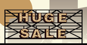Vector marquee letter Huge Sale sign. Huge sale sign in the style of an illustrated marquee vector illustration
