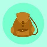 Vector marrón ilustrado de la mochila del bolso Fotografía de archivo