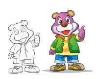Vector of mascot cute bear cartoon. Color and line art Royalty Free Stock Photos
