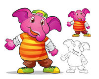 Vector of mascot cute elephane cartoon. Color and line art Stock Images