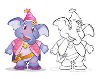 Vector of mascot cute elephane cartoon color and line art. Vector of mascot cute elephant cartoon color and line art Stock Images