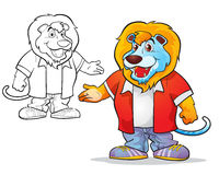 Vector of mascot cute Lion cartoon. Color and line art Royalty Free Stock Photography