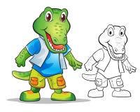 Vector of mascot cutecrocodile cartoon. Color and line art Stock Photos