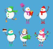 Vector mascot design of funny snowmen. Xmas characters set Stock Photography