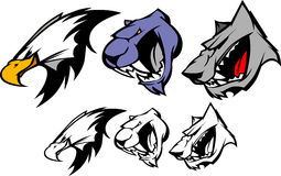 Vector Mascot Eagle Panther Wolf Stock Images
