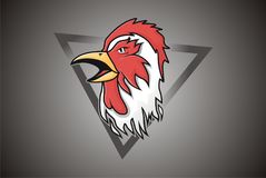 Vector Head Chicken Mascot Logo stock image