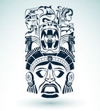 Vector mask, mexican Mayan - aztec motifs - symbol. Easy edit Vector Illustration
