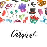 Vector masks and party accessories. Vector banner poster background with place for text with masks and party accessories illustration Stock Photography