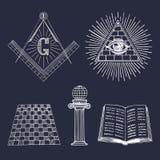 Vector masonic symbols set. Sacred society icons, freemasonry emblems, logos. Esoteric illustrations collection. Stock Images