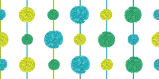 Vector Matching Green Birthday Party Paper Pom Poms Set On Strings Horizontal Seamless Repeat Border Pattern. Great for Royalty Free Stock Images