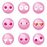 Cute emoticon 9set - pink stock illustration
