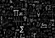 Vector mathematical seamless texture with various mathematical signs, figures and handwritten numbers Stock Photos