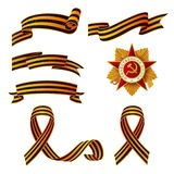 Vector May 9 Victory day george ribbons, medal set. Vector May 9 Victory day, Russian traditional holiday George Ribbons, patrioric war star medal icon set Stock Photo