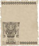 Vector mayan en inca stammensymbolen op oud document Stock Fotografie