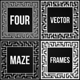 Vector Maze Frame Set. Vintage Maze Border. Maze Frame Set. Vintage Maze Border. Labyrinth with Entry and Exit. Find the Way Out Concept. Vector Illustration Stock Images