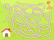 Vector maze game with dog to the home Stock Photos