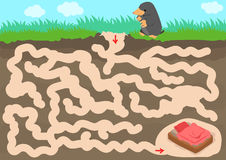 Vector maze game with find mole room. In underground stock illustration