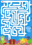 Vector maze game with find treasure underwater. Education worksheet Stock Images