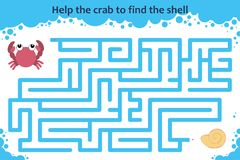 Vector maze game. Help the crab to find the shell. Children educational game Stock Images