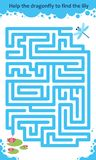 Vector maze game. Help the dragonfly to find the lily. Children educational game Stock Image