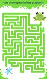 Vector maze game. Help the frog to find the dragonfly. Children educational game Stock Photos