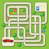 Vector maze game. Labyrinth education game for children with car. Vector illustration Royalty Free Stock Photography