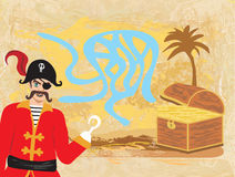 Vector Maze game: pirate looking for gold Stock Photography
